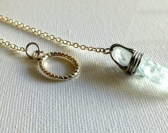 Blue Crystal Lariat Necklace