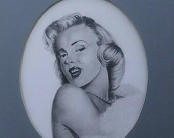 Original Graphite and Charcoal Marilyn Monroe