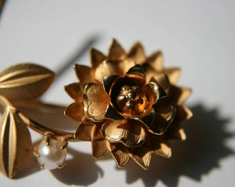 12K Gold Filled Flower Brooch Pin with Pearl Vintage Signed RCH King 1950's