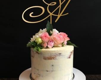 Monogram Wedding Cake topper,Single Letter Monogram Wedding Cake Topper with your Initial, wedding Cake Topper,Anniversary, Birthday