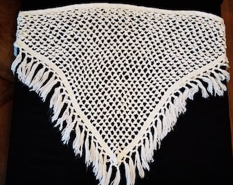 Janetta Creation White Crochet Shawl with Fringe