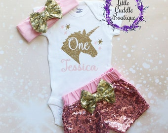 Personalized Unicorn First Birthday Outfit, Girl First Birthday Outfit, Unicorn Outfit, Pink Birthday Outfit, Seaquin Shorts, Unicorn Shirt