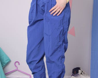 vintage track pants size XL, CRANE tracksuit gym pants, blue slouchy relaxed pants on elastic, nylon sport tracksuit pants