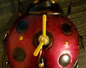 "Cute Hand Painted Lady Bug Magnetic Clock About 4"" by 4"""
