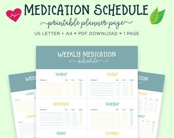 Medication Log, Medicine Tracker, Health Planner, Health Printable, Prescription Tracker, Prescription Log, Health Tracker, Medication Plan