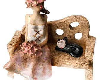 Lady in a Pink Corset with Good Luck Black Cat | Roses | Unusual and Quirky Gift | Wedding Gift