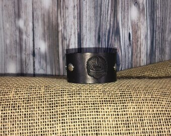 "Genuine Leather ""Live to Ride"" Studded Wrist Cuff"