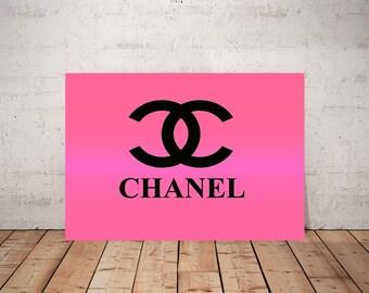Chanel Logo Art, Print or Canvas, Chanel Wall Decor, Pink Chanel Picutre, Coco Chanel, Ombre Chanel Pop Art, Chanel Lover, Bright Colors