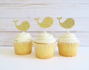 Whale Cupcake Toppers - Baby Whale Cupcake Toppers - Gold Cupcake Toppers - Baby Shower Cupcake Topers