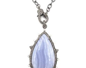 Long diamond blue lace agate necklace, Sterling silver necklace, Pave diamond jewelry, Diamond pendant