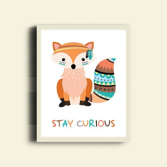 Tribal FOX Print Stay Curious Print, Tribal Animal Prints, Tribal Fox Decor, Tribal Fox Nursery Printable, Neutral Nursery Fox Printable Art