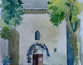 Cathedral Vaison Portal South original watercolor watercolor wasserfarben aquarel painting a Vaucluse, Provence France