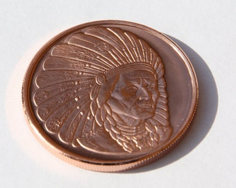 Chief Sitting Bull Copper Challenge Coin
