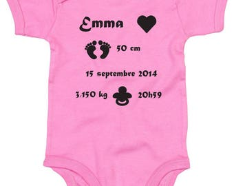 Personalized baby Bodysuit baby birth invitation