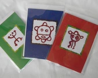 Christmas cards, taino petroglyphs, Puerto Rico
