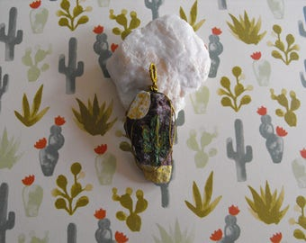 Moonlit Cactus Wire Wrapped Stone Pendant