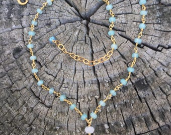 Naja Necklace with Chalcedony, Moonstone, and Labradorite