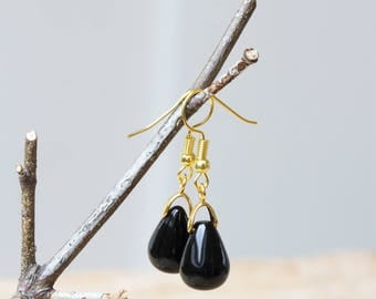 Black Onyx Teardrop Earrings, Black Drop Earrings, Minimalist Teardrop Earrings, Gold and Black Earrings, Pear Shape erarings