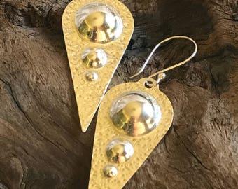 Hammered fine silver (.999) dangle earrings