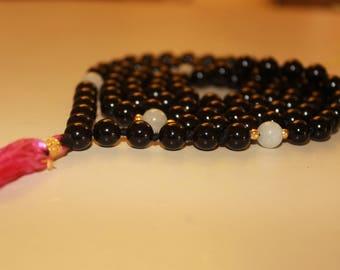 Black Onyx Mala Necklace|108 mala|onyx meditation|birthstone mala|108mala beads|boho mala necklace|prayer malas 108|yoga mala 108