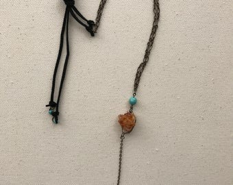 Citrine Cluster Tie Necklace with Turquoise