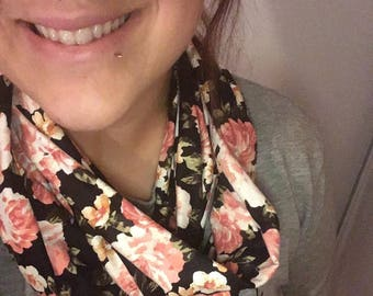 Pink aqaurelle flowers infinity scarf