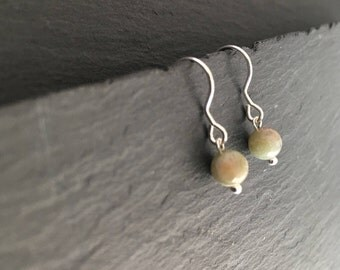 6mm Agate Ear-Rings with 925 Sterling Silver Ear-Wires