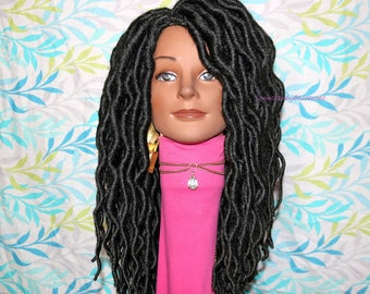"READY TO SHIP  //Synthetic crochet wig "" Loc n Wave 16inch( large faux locs)"""