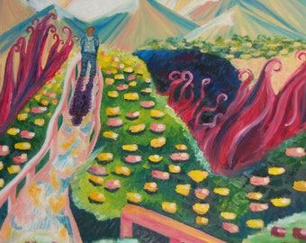 The Edge original oil Painting Art print 11x11, wall art, home decor, impressionism, colorful art, wall decor, modern art, poster