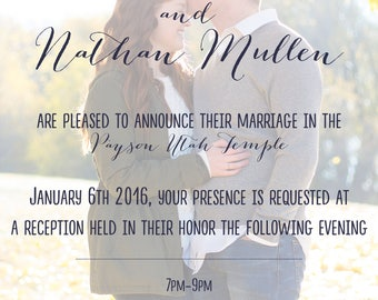 Wedding Invitation- Custom Made with Your Picture