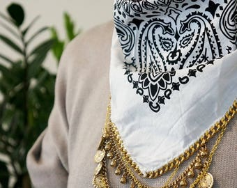White Bandana with Gold Chain
