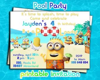 POOL PARTY MINIONS Invitations,Despicable Me birthday party invites,Minion Birthday Party invitations,Despicable me 2 printables,digital diy