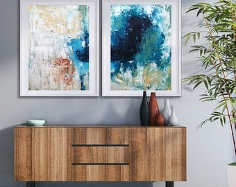 CANVAS ART Abstract Print Wall Art, Large Wall Art, Blue Abstract Print,  Giclee