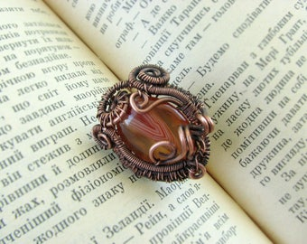 Wire Wrapped Copper Ring Handmade with Agate Gift for me her Boho Jewelry Oval Natural Stone Oxidized Copper Ring with Black copper Patina
