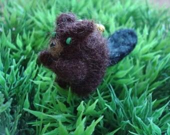 Needle felted miniature beaver plush keychain