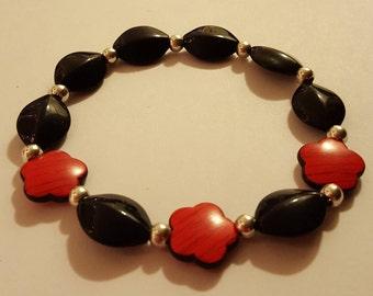 Red Flower and Black Bead Bracelet