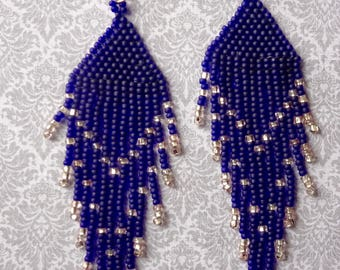 Navy Blue Beaded Chandelier Earrings