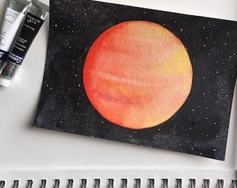 Mars Watercolor Painting