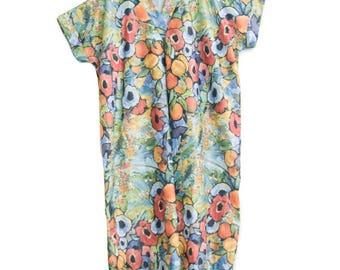 Vintage 1980s Yolene Floral Kaftan Style Dress Size Large / Muumuu / Tunic Dress / Plus Size True Vintage / Flower Print