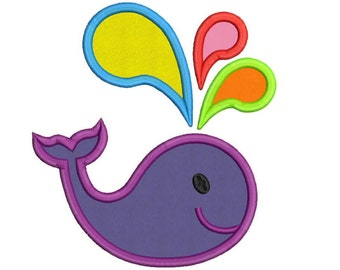 Applique Whale Machine Embroidery Design - 5 Sizes