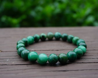 Natural Green African Jade Bead Bracelet, Jade Beaded Bracelet, Jade Stretch Bracelet, Jade Bead Bracelet, Gemstone Bracelet, Handmade, 8 mm