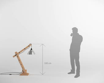 Articulated 100cm wooden architect lamp