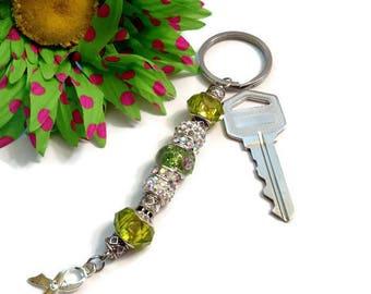 Green Awareness Ribbon Keychain - Lyme Disease Liver Cancer Kidney Disease Cerebral Palsy Bipolar Disorder