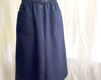 1980's Navy Blue A line Skirt