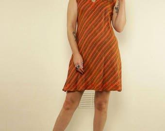 Vintage Orange Striped Hippie Embroidered Sleeveless Dress