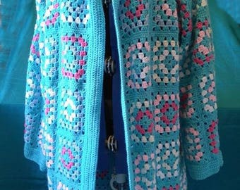 Granny square hooded cardigan