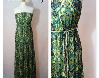 VINTAGE 1960s 1970s GREEN PAISLEY Bandeau Maxi Dress, Size 10-12, Boho, Hippy, Festival, Vacation, Holiday, Summer