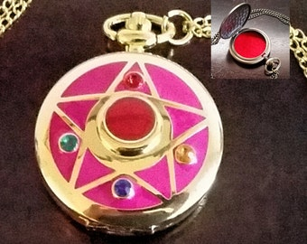 Eternal Sailor Moon Necklace, Usagi Necklace, Pill Box Container, Metal Pill Case For Purse Pill Organizer Box with Felt Lining and Chain
