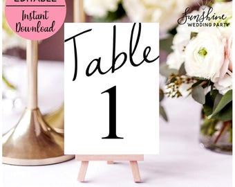 Wedding Table Numbers, Printable Table Numbers, Wedding Invitation Kit, Wedding Invitations, Templates, Invitation, Printable Invitation