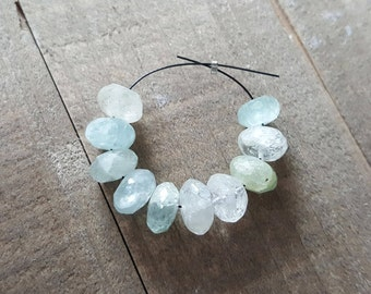 Large Icy Pale Aquamarine Faceted Rondelle Beads, 9-10mm